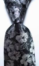 New Classic Floral Black White Gray JACQUARD WOVEN 100% Silk Men's Tie Necktie