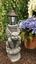 """Faux Stone Gothic Winged Gargoyle Statue with Solar Led Lantern Light Post 20""""H"""