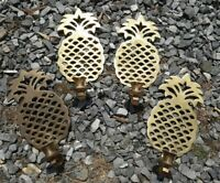4 Vintage Hampton Brass Pineapple Wall Sconce Candle Holders Patina Farmhouse