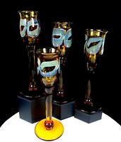"STUDIO ART GLASS HAND-BLOWN AMBER IRIDESCENT CIRCLE 4 PC 9 1/4"" CHAMPAGNE FLUTES"