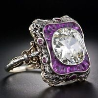 Women Amethyst & White Topaz 925 Silver Jewelry Wedding Engagement Ring Sz 5-10