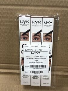 Lot Of 3 NYX Fill & Fluff Eyebrow Pomade Pencil Taupe FFEP02 Brand New