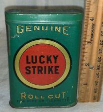 ANTIQUE LUCKY STRIKE TIN LITHO VERTICAL POCKET CAN ROLL CUT TOBACCO RICHMOND #6