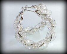 18k White Gold Stardust Mesh Large Hoop Earrings made w/ Swarovski Crystal Stone