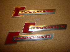 SUPERCHARGED BADGE x3 RED ON RED FITS RANGE ROVER SPORT AUDI JAGUAR CAR BADGE