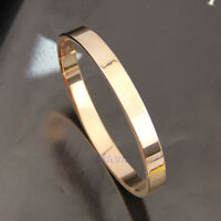 GIFT STAINLESS STEEL POLISHED BRACELET SOLID CUFF BANGLE SILVER GOLD PLATED NEW