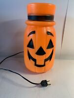 "Vintage Halloween 10"" Pumpkin Jack-O-Lantern with Top Hat Lighted Blow Mold"