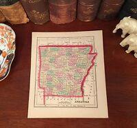 Original Hand-Colored 1856 Antique Pre-Civil War Map ARKANSAS Little Rock Rogers