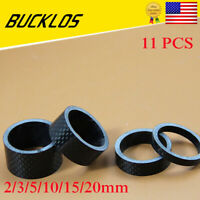 "BUCKLOS MTB Stem Washers Carbon Fiber Headset Spacers 1-1/8"" Threadless 11PCS"