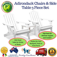 Adirondack Chairs and Side Table 3 Piece Set Foldable Style Home Furniture White