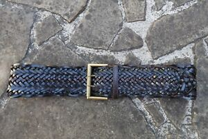 S/M - Wide Woven Brown Leather Belt womens with gold oblong buckle