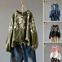 ZANZEA Women Casual Embroidered Floral Blouse Tee Shirt Vintage Retro Ladies Top