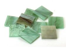 "25 Rainforest Green Pearl Opal 1"" Square Hand Cut Stained Glass Mosaic Tiles"