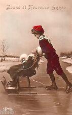 BL255 Carte Photo vintage card RPPC Enfant fantaisie patin patinage glace hiver