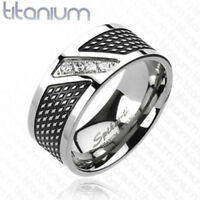 Solid Titanium Black Center Band Ring w/ 4 Clear Gem Size 9,10,11,12,13,14(f126)
