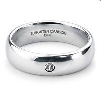 New Tungsten Carbide Mens Ladies Wedding Engagement Silver Zirconia Ring 6mm