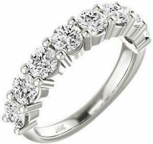 Diamond Wedding Band Ring 1.70 Ct Round Cut 18K White Gold Anniversary Bridal