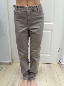 Bonita Jeans Gr 42 Denim Stretch bestickte Taschen Straight Leg beige 1A Zustand