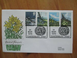 1979 FLOWERS GPO FIRST DAY COVER, SCARCER WOMENS INSTITUTE, CANTERBURY H/S
