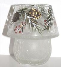 YANKEE CANDLE FIRST FROST Crackle Glass Mini Lamp Tea Light Holder, New in Box