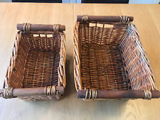PAIR OF VINTAGE MATCHING WOODEN HANDLE WICKER BASKETS