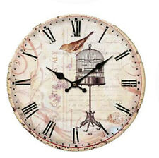 Clock Country Vintage Wall Clocks 34CM BIRD WITH BIRDCAGE New Time