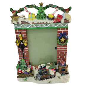 """Lighted Christmas Picture Frame Ceramic 11"""" Flickering Lights Works 5x7 Photo"""