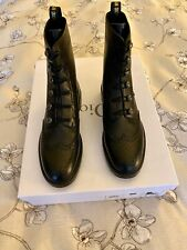 CHRISTIAN DIOR DIORUNIT LEATHER Combat BOOTS SIZE 38 BLACK NEW