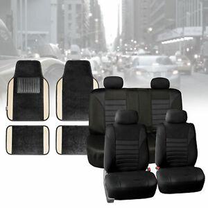 Seat Covers for Car Suv Van Air Mesh Black W/ Beige Carpet Floor Mats