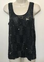 Newport News Tank Top Medium Knit Black Sequin Stretch Sleeveless Rayon Cami