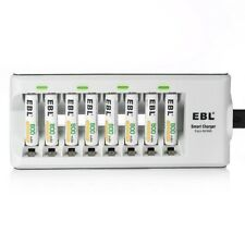 EBL 8 Bays AA AAA Battery Charger with 8 Pack AAA 800mAh Ni-MH Rechargeable Batt