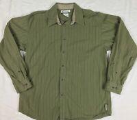 Columbia Sportswear Long Sleeve Button Down Shirt Olive Green Striped Sz Medium