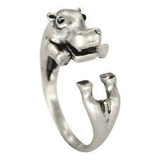 Hippo Hippopotamus Rings - Silver - Adjustable (R21)