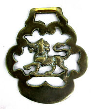 """Prancing Lion Horse Brass Bridal Decoration Brass Gold-tone 3""""wide x 3.5"""" tall"""