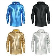 Mens Patent Leather Motorcycle Hoodie Armours Bikers Autumn Hoody T-Shirt Tops