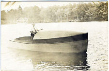 Vintage Wooden Boat on Lake Real Photo RPPC Postcard