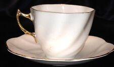 ROSINA QUEENS ENGLAND CUP & SAUCER ALL WHITE W GOLD GILT TRIM SWIRLED TRIANGLE
