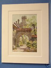 WINCHESTER COLLEGE GATEWAY  HAMPSHIRE VINTAGE DOUBLE MOUNTED HASLEHUST PRINT