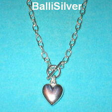 3 Sterling Cable Chain HEART Charm Toggle NECKLACES 30""