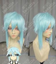 Short Blue Cosplay Sword Art Online Ghost Bullet Asada Shino Sideburns Anime Wig