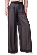 RRP €265 KARL LAGERFELD Silk Trousers Size 38 Pleated Branded Waistline Wide Leg
