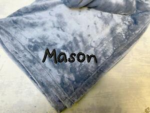 Custom Fleece Personalized Grey Plush Velvet Blanket Name Embroidered Kids