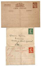 8 entiers postaux 1895 à 1940. Dont 3 non oblitérés.
