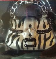 "NWOB MERRY BRITE ZEBRA STRIPE HANDBAG PURSE LARGE GLASS ORNAMENT 4"" WIDE"
