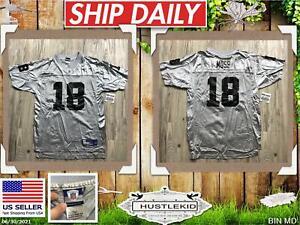 Genuine Reebok Randy Moss #18 Oakland Raiders NFL Jersey Silver Youth Boy XLarge