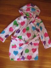 Komar Kids hoodie FLEECE BATHROBE pink purple white heart girl pjs pajamas S 7 8