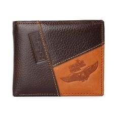 Men's Bifold Wallet Black Genuine Extra Cow Leather with Large Cash Compartment