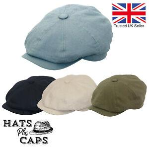 Linen 8 Panel Newsboy Cap Summer Cotton Peaky Blinders Lightweight Flat Cap