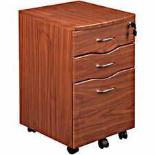 Home Office File Storage 3 Drawer Rolling Cabinet Portable Wood Box Lock Filing