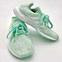 Ladies Adidas Swift Run Mint Green Running Gym Trainers Size UK 3 - VGC